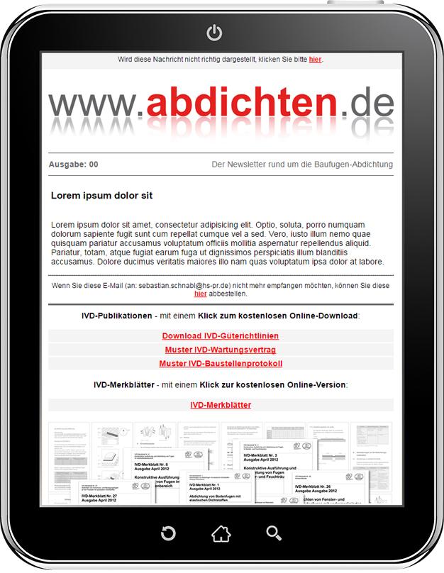 Zur Anmeldung abdichten.de-Newsletter