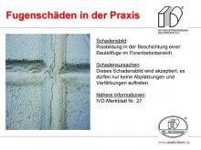 Fugenschäden in der Praxis: Rissbildung in der Beschichtung einer Bauteilfuge im Porenbetonbereich