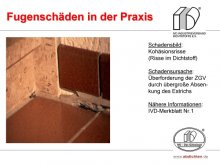 Fugenschäden in der Praxis: Kohäsionsrisse (Risse im Dichtstoff)