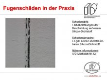 Fugenschäden in der Praxis: Farbabplatzungen der Beschichtung auf einem Silicon-Dichtstoff