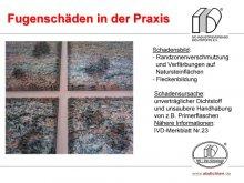 Fugenschäden in der Praxis: Randzonenverschmutzung und Verfärbungen auf Natursteinflächen / Fleckenbildung